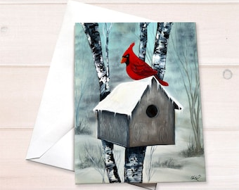 Cardinal birdhouse Christmas Note Card
