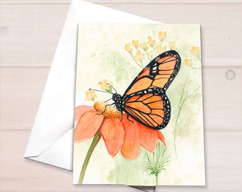 Monarch on Zinnia Notecard