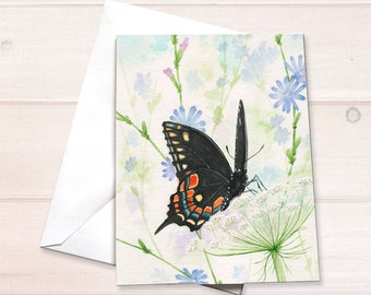 Swallowtail Butterfly on Queen Anne's Lace Notecard
