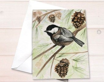 Chickadee Watercolor Note Card