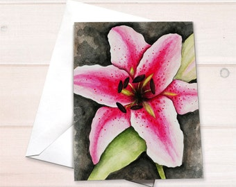 Stargazer Lily watercolor Card