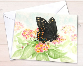 Swallowtail Butterfly on Lantana Card