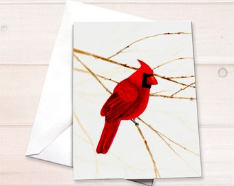 Cardinal Watercolor Christmas Card