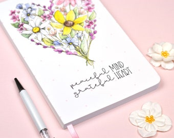 Gratitude Journal Wildflower Heart Design