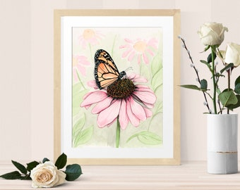 Monarch on Echinacea print