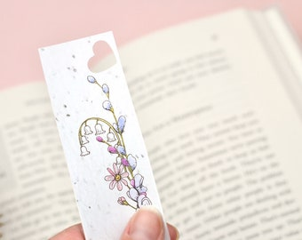 Wildflower Seed Bookmark with purple floral design