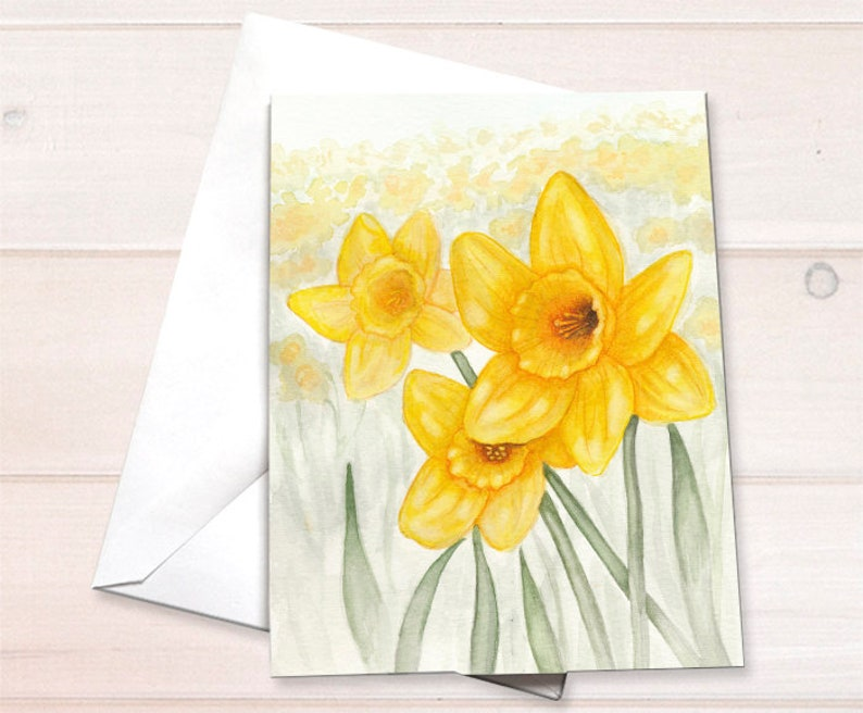 Watercolor flowers  Daffodils floral stationary retail image 0