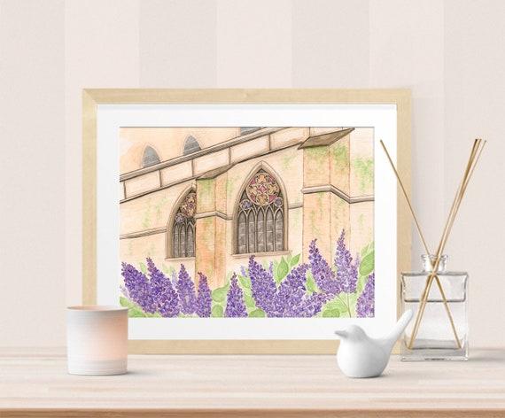 Lilac Chapel Watercolor