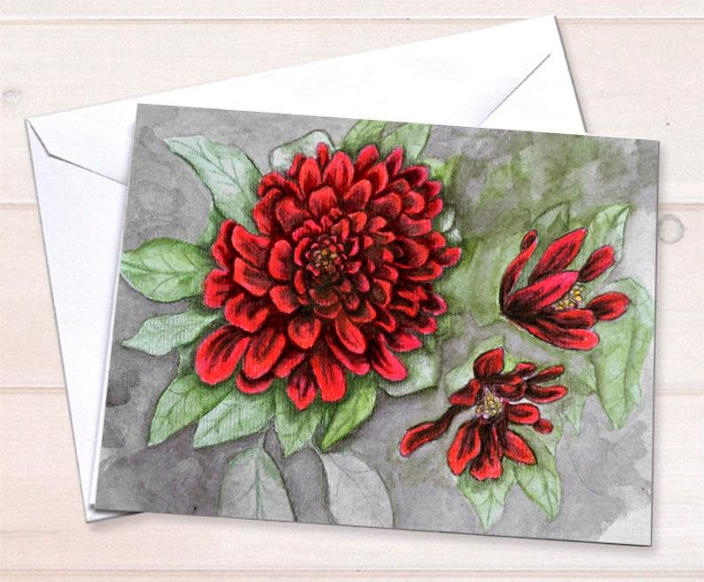 Retail Floral watercolor cards  Chrysanthemums image 0