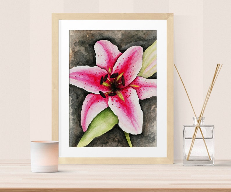 Bedroom décor  Stargazer Lily watercolor image 0