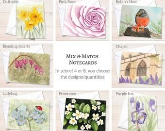 Custom stationery assortment, watercolor notecard set, mixed personal stationery assortment, stationary