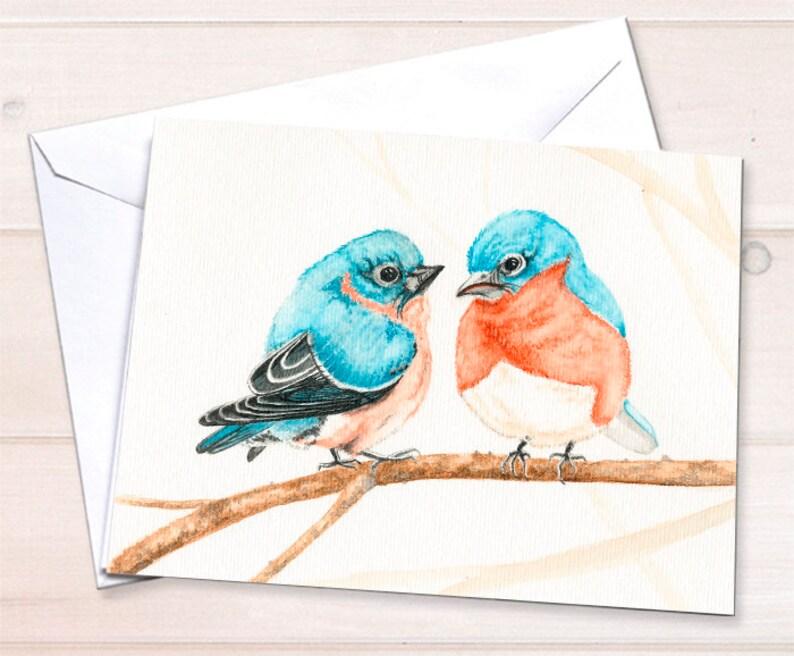 Wholesale Love card  bluebirds watercolor image 0