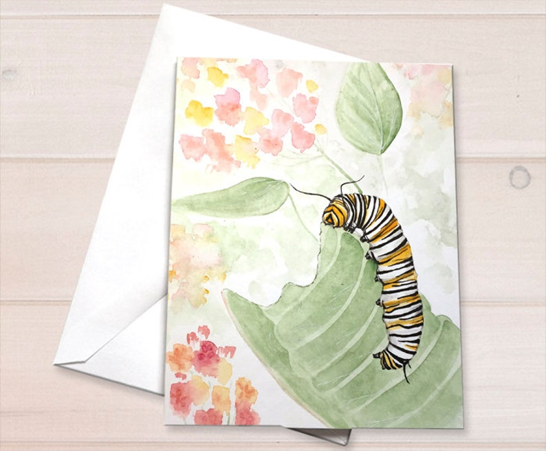 Blank card retail  Monarch Caterpillar watercolor image 0
