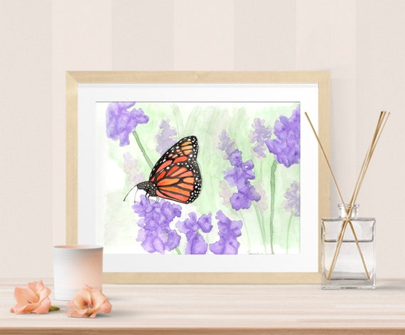 Monarch butterfly in a purple field