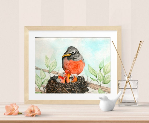 Robin's Nest Watercolor