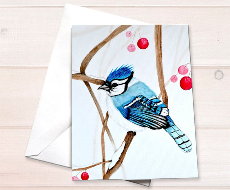 Retail Thank you cards  bluejay bird watercolor image 0