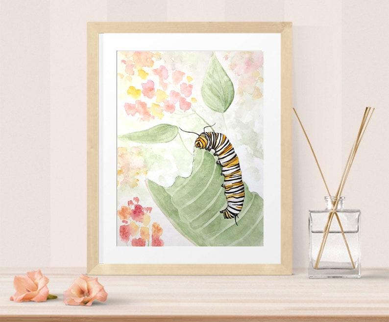 Butterfly wall art  monarch caterpillar image 0