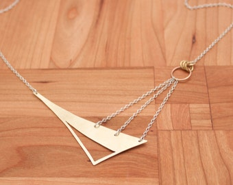 Asymmetric Triangle Necklace, Statement Necklace