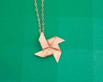 Bronze Pinwheel Necklace