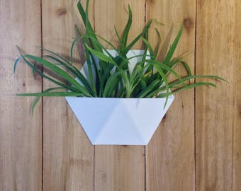 Modern Hexagonal Honeycomb Indoor/Outdoor Succulent Wall Planter, White Powder Coated Finish