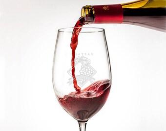 Monogram Wine Glass Set of 2 or 4, Etched Wine Glass, Personalized Wine Glasses, Wedding Gift, Custom Stemware, Bridesmaid Glass