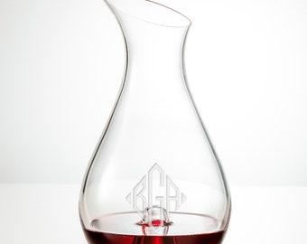 Monogram Wine Decanter, Personalized Wine Decanter, Custom Wine Decanter, Engraved Wine Glasses, Crystal Wine Decanter, Wedding Gift