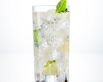 Monogram Cocktail Glass Set of 2, Personalized Barware Sets, Engraved Cocktail Glasses, Custom Highball glass, Bourbon Glasses