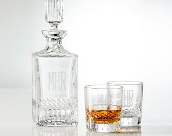 Monogram Whiskey Decanter Set, Personalized Decanter Set, Engraved Decanter, Engraved Whiskey Glasses, Bourbon Decanter, Wedding Gift