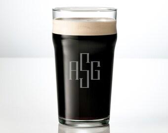 20oz Engraved Pint Glass Set - Personalized Craft Beer Glass, Wedding, Christmas or Beer Lover Gifts, Monogram or Custom Design Beer Mugs!