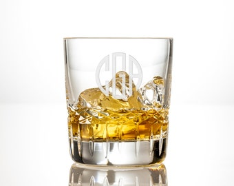 Personalized Whiskey Glass Set - Engraved Bourbon Rocks Glass, Perfect Wedding, Christmas or Gift for Him, Etched Monogram or Custom Design