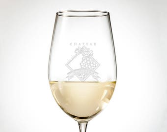 Personalized Wine Glass Set - Engraved Crystal Wine Glasses Perfect for Wedding or Christmass Gifts, Choose a Monogram or Custom Design!