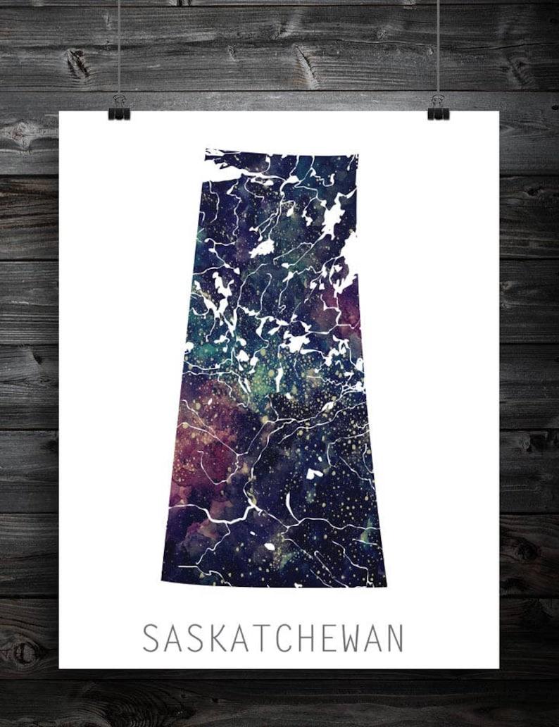 Saskatchewan Star Map Art Print Canadian Province Home Etsy