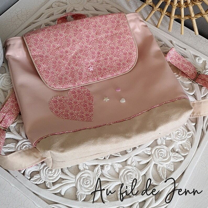 faux leather suede rivets Court and star applique heart Backpack bag adjustable child girl pink and beige pattern small flower