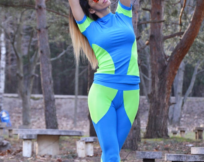 Women's Fitness Set, Runner Set, Plus Size Fitness Top, Yoga Pants, Hot Workout Blouse, Maxi Pants by SSDfashion