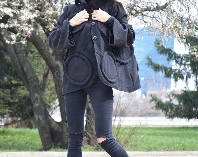 Cashmere Woman's Black Winter Coat, Long Sleeves Cashmere Coat, Extravagant Warm Cashmere Coat by SSDfashion