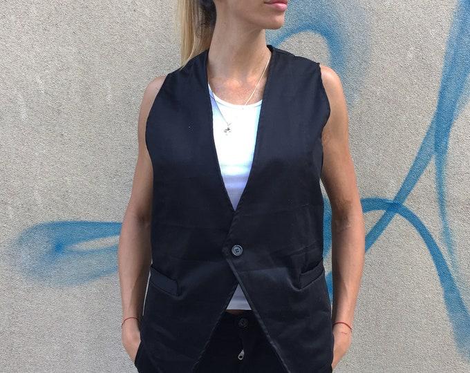 Women Sleeveless Black Vest, Elegant Extravagant Trench Top, Cotton Fashion Vest, Plus Size Buttoned Vest by SSDfashion