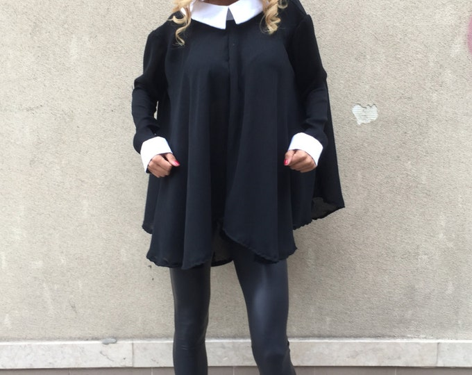 Oversized Black Shirt With White Collar, Maxi Shirt, Elegant Shirt, Plus Size Womens, Midi Dress, Work Shirt, Oversize Top by SSDfashion