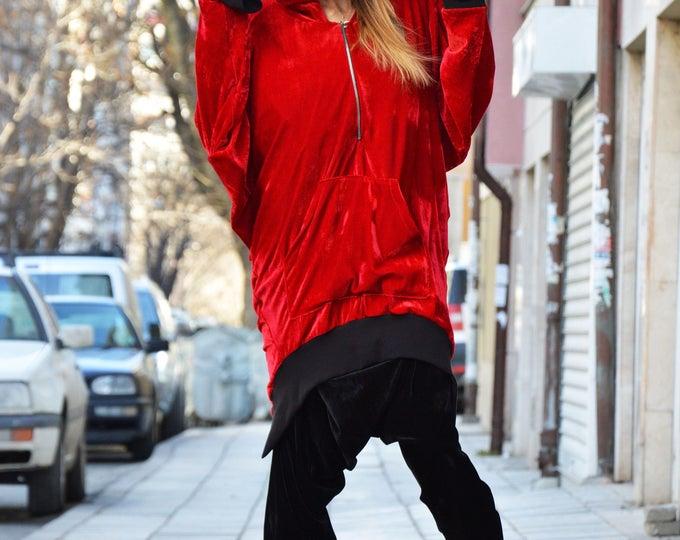 Oversize Red Velvet Hoodie, Maxi Asymmetric Dress, Warm Hooded Sweatshirt, Extravagant Tunic by SSDfashion
