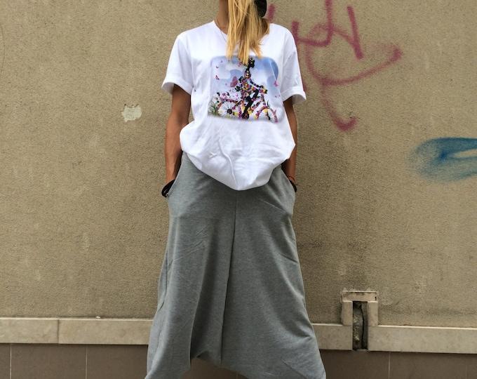 Oversize Pants, Woman Casual Pants, Loose Gray Trousers, Drop Crotch Harem Pants, Maxi Sport Pants by SSDfashion