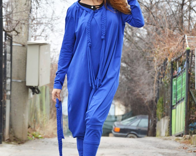 Women Blue Jumpsuit, Cotton Jumpsuit, Union Drop Crotch Suit, Jumpsuit with belt, Loose Casual Jumpsuit, Maxi Pants by SSDfashion