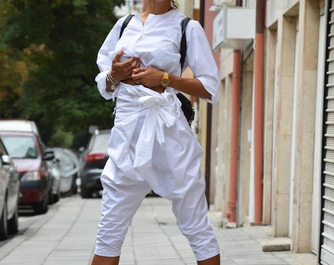 White Cotton Loose Wide Pants, Extravagant Harem Pants, Drop Crotch Trousers, High Waist Pants by SSDfashion