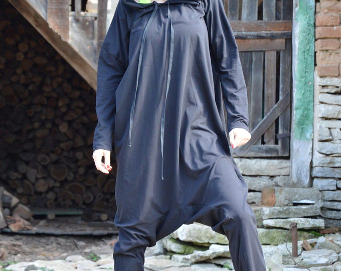 Black Cotton Hooded Jumpsuit, Jumpsuits for Women, Maxi Rompers, Harem Jumpsuit Extravagant Drop Crotch by SSDfashion