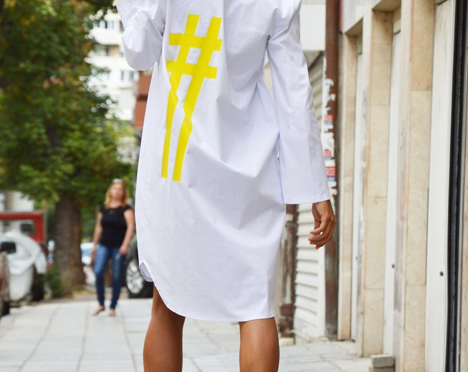 White Cotton Long Shirt, Maxi Plus Size Tunic, Loose Oversize Tunic Dress, Yellow Hashtag Shirt by SSDfashion