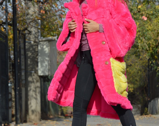 Fashion Pink Loose Coat, Winter Quality Designer Coat, Large Pocket Women Coat, Extravagant Maxi Coat by SSDfashion