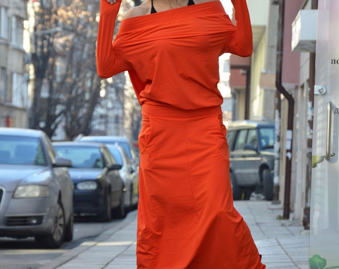 Maxi Extra Long Sleeves Orange Jumpsuit, Loose Casual Drop Crotch Pants, Extravagant Harem Jumpsuit, Union Suit by SSDfashion
