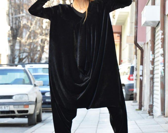 Extravagant Black Velvet Jumpsuit, Extra Long Sleeves, Loose Jumpsuit, Maxi Drop Crotch Harem Pants by SSDfashion