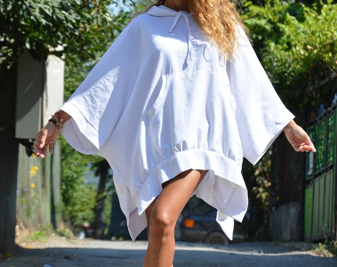 Asymmetric White Linen Blouse, Loose Hooded Sweater, Extravagant Jacket, Handmade Hoodie, Maxi Tunic Top by SSDfashion