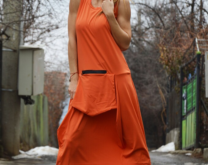 Plus Size Sleeveless Dress, Maxi Women Dress, Long Tunic, Fitted Dress, Orange Women Dress, Tunic with Front Pocket,Maxi Dress by SSDfashion