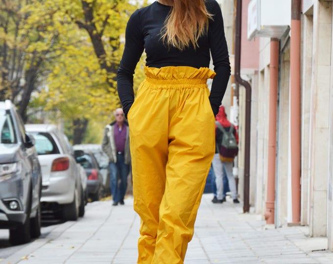 Extravagant Mustard High Waist Pants, Large Wide Leg Pants,  Extravagant Design Pants, Elegant Trousers by SSDfashion