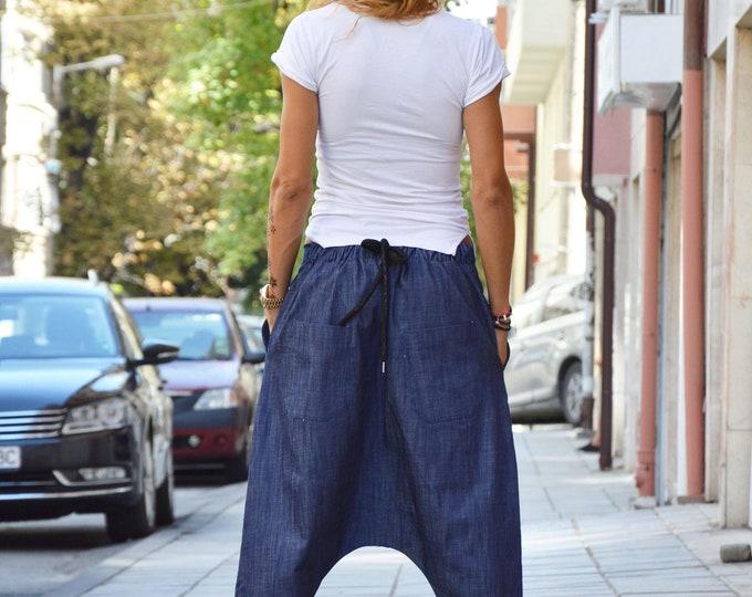 Casual Drop Crotch Blue Denim Pants, Loose Cotton Extravagant Pants, Low Bottom Harem Pants by SSDfashion